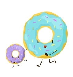 Funny fast food donuts icon vector image