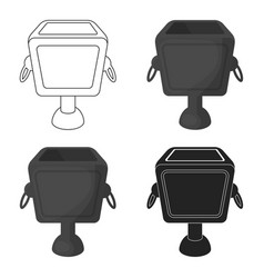 Garbage can icon in cartoon style isolated on vector