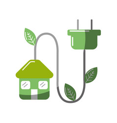 Green house with reduce power cable icon vector