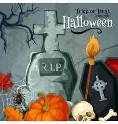 Halloween holiday greeting trick or treat card vector