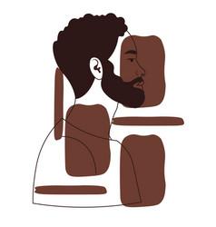 Hand drawn portrait black man vector