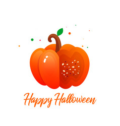 happy halloween with juicy pumpkin on isolated bac vector image