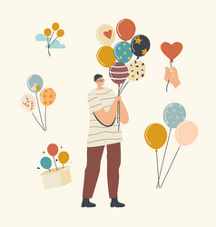 Happy male character hold bunch colorful helium vector