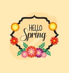 Hello spring poster with elegant floral frame vector