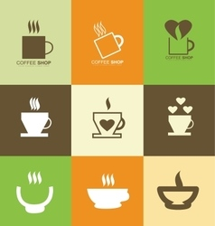 Hot coffee cup logo icon set vector