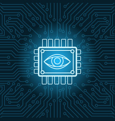 Human eye icon on chip over blue circuit vector