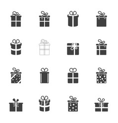 icon set of gift boxes on a transparent vector image