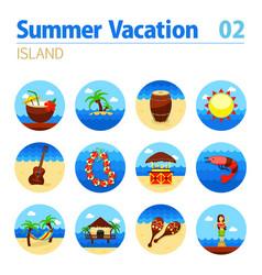 Island beach icon set summer vacation vector