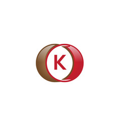 k letter circle logo vector image