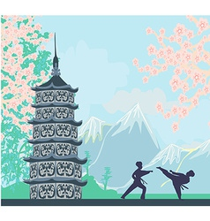 Karate occupations - Chinese landscapeabstract vector