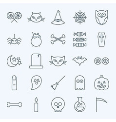 Line Holiday Halloween Icons Set vector image