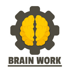 Logic brain work logo flat style vector