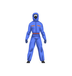 Man in blue protective suit and gas mask chemical vector