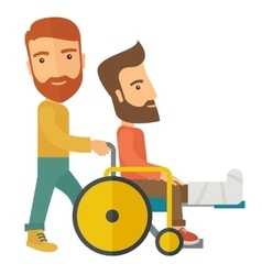 Man pushing the wheelchair with broken leg patient vector
