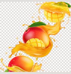 Mango fruit and spiral splashing juice vector
