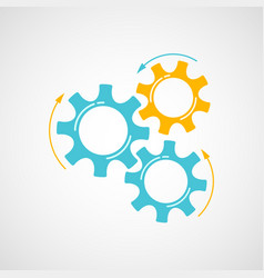mechanical cog and gear graphic in blue and orange vector image