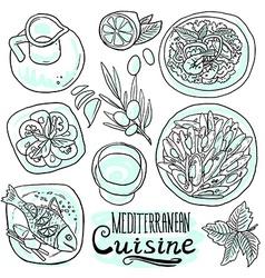 medditerranean cuisine- food on white background vector image