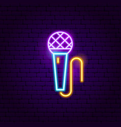 Microphone neon sign vector