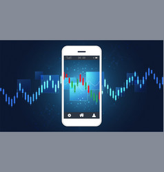 mobile stock trading concept with candlestick and vector image