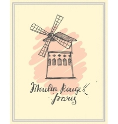 Moulin Rouge hand drawn sketch vector