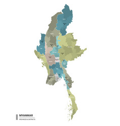 Myanmar higt detailed map with subdivisions vector