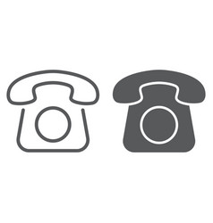 old phone line and glyph icon contact us vector image