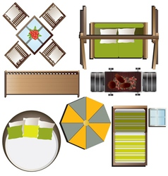 Outdoor furniture top view set 16 for landscape vector image
