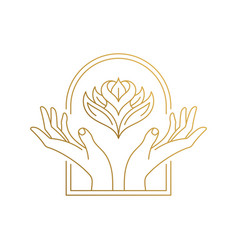 Outline emblem hands with flower in window hand vector