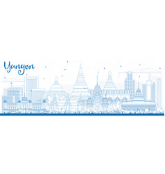 outline yangon skyline with blue buildings vector image