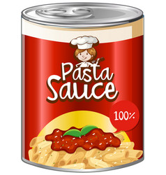 Pasta sauce in can with red label vector