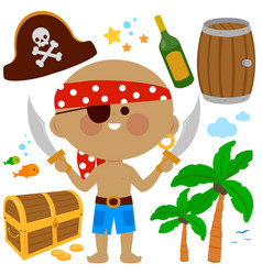 pirate captain set collection vector image