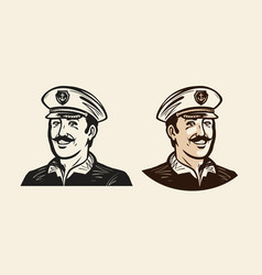 Portrait of smiling captain sailor seafarer vector