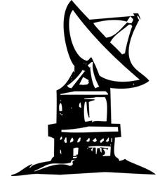 Radio telescope woodcut vector