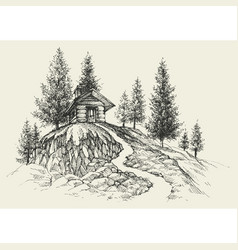 Relaxing place hand drawing a retreat in nature vector