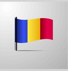 Romania waving shiny flag design vector