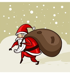 Santa sneaking in the snow vector image