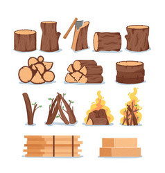 set firewood tree logs round slices burning vector image