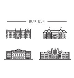 set icon outline design facade and building vector image