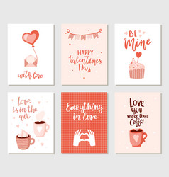 Set of simple hand drawn valentines cards vector