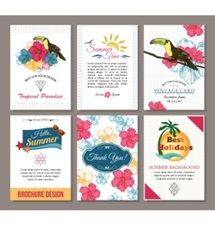 Set of summer hand drawn floral vintage cards with vector