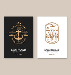 set summer sailing camp template vector image