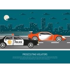 Street Racing Violation Scene Flat Poster vector
