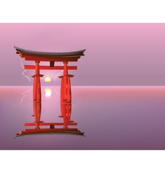 Sunrise at Torii gates vector