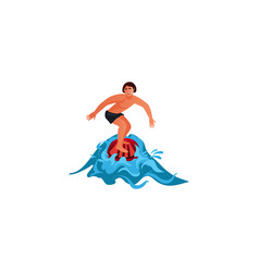 Surfer riding wave raster in vector