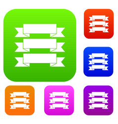three ribbons set collection vector image