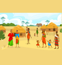 Tribe ethnic people in africa flat vector