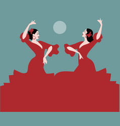 Typical spanish dance moon in the background vector
