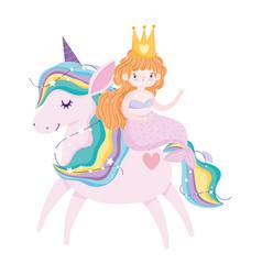 unicorn and mermaid fantasy magic stars decoration vector image