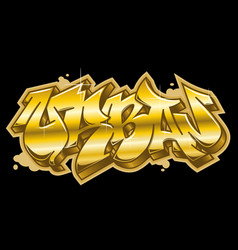 Urban word in golden graffiti style vector