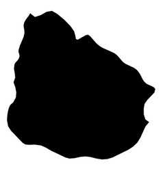 uruguay - solid black silhouette map of country vector image